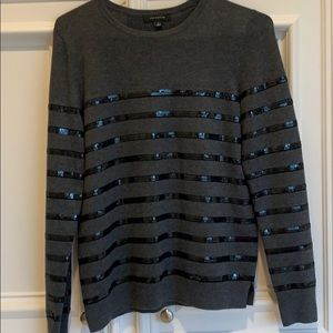 Ann Taylor sweater with sequins stripes in black